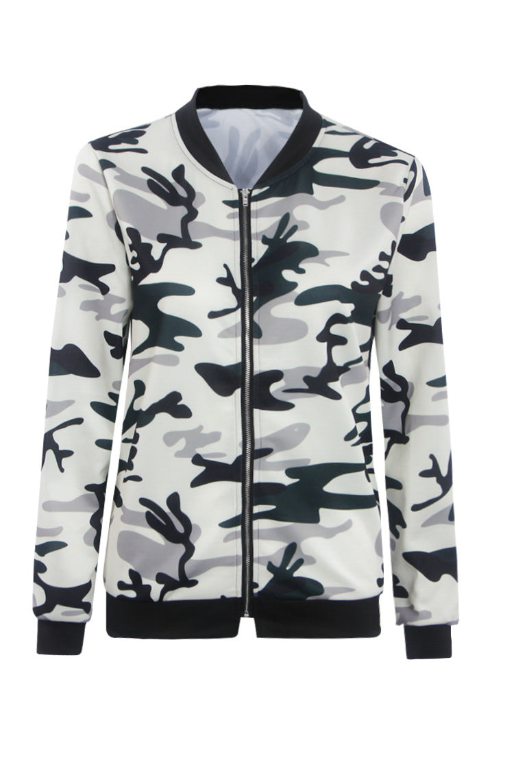 Camouflage Print High Neck Zipper Scoop Short Coat Outwear