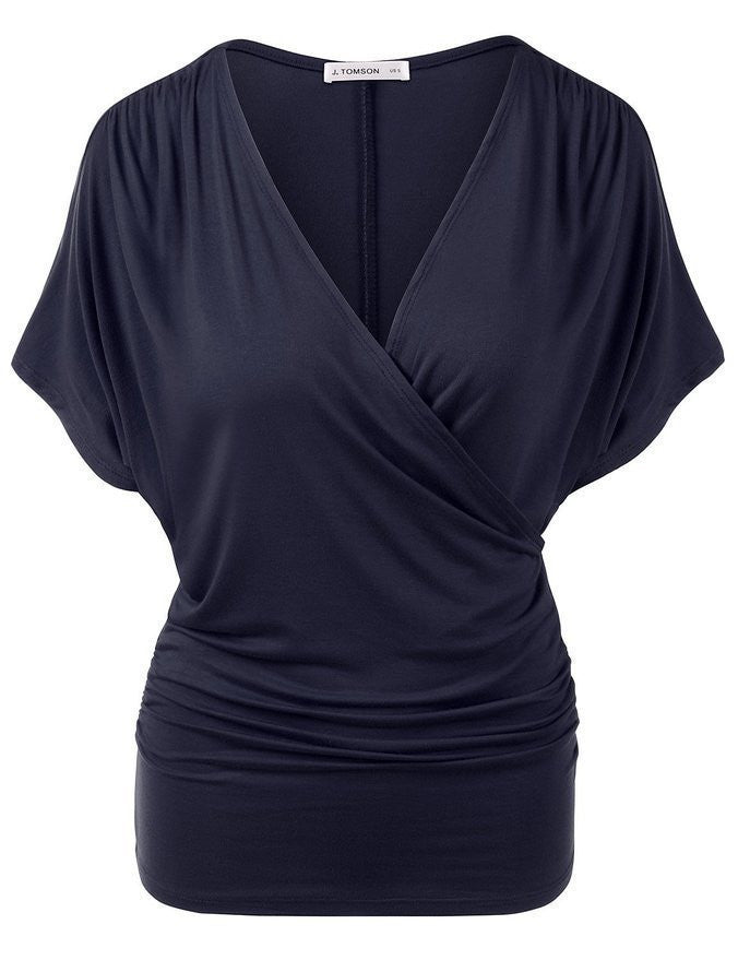 Sexy V Neck Wrap Style Pure Color Bat Short Sleeve Blouse