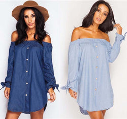 Off Shoulder Elastic Long Sleeve Butterfly Denim Blouse