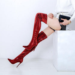 Sexy Bright Color Stretch High Heel Over Knee Boots