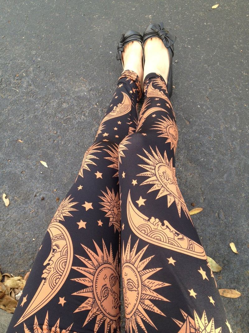 Brown Moon Sun Print Bohemian Style Slim Leggings