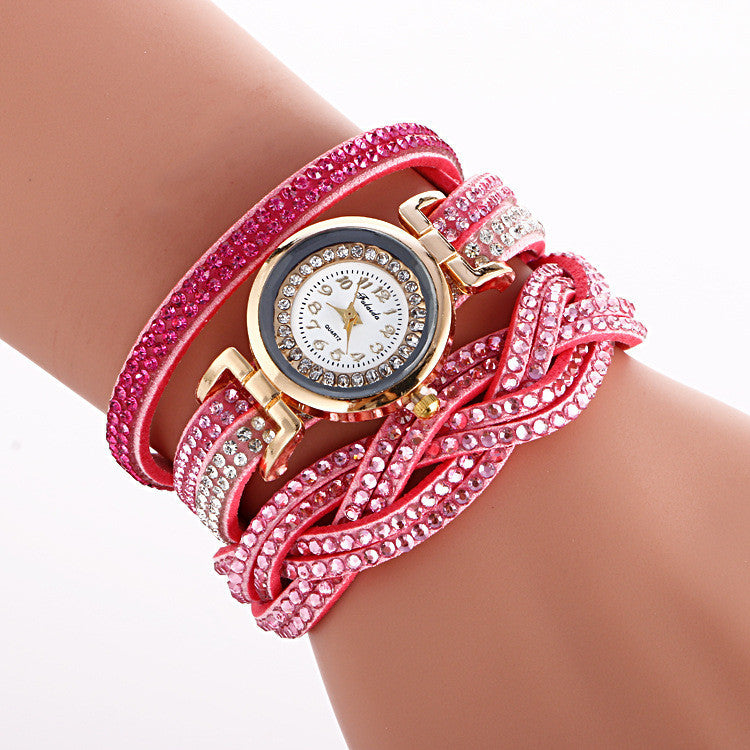 Double Color Twist Around Bracelet Watch