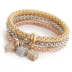 Cube Pendant Bounce Popcorn Three Color Bracelet