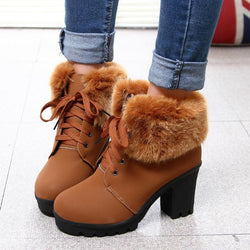 British Style Faux Fur Decorate Chunky Heel Short Martin Boots