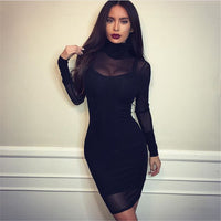 Black Transparency Lined Long Sleeve Bodycon Short Two Pieces Dress