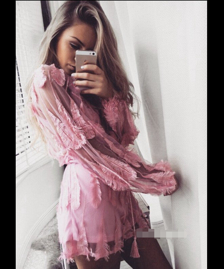 Pink Feather Patchwork Deep V-neck See-through Short Jumpsuit