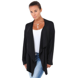 Fashion Long Sleeve Pure Color Irregualar Cardigan