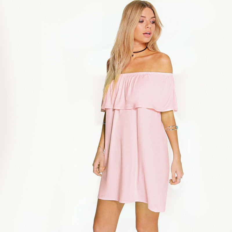 Sexy Off Shoulder Falbala Pure Color Loose Short Dress
