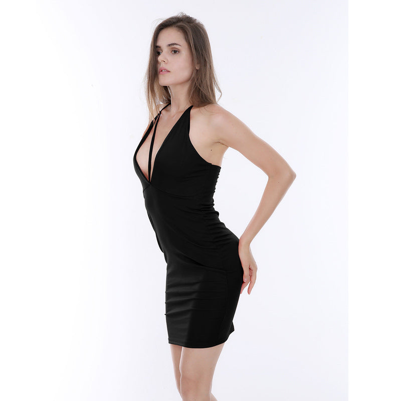 Deep V-Neck Bandage Backless Short Bodycon Dress