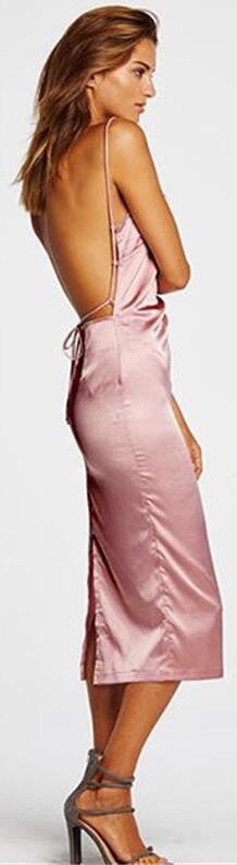 Pink Spaghetti Strap Backless Pure Color Split Long Dress
