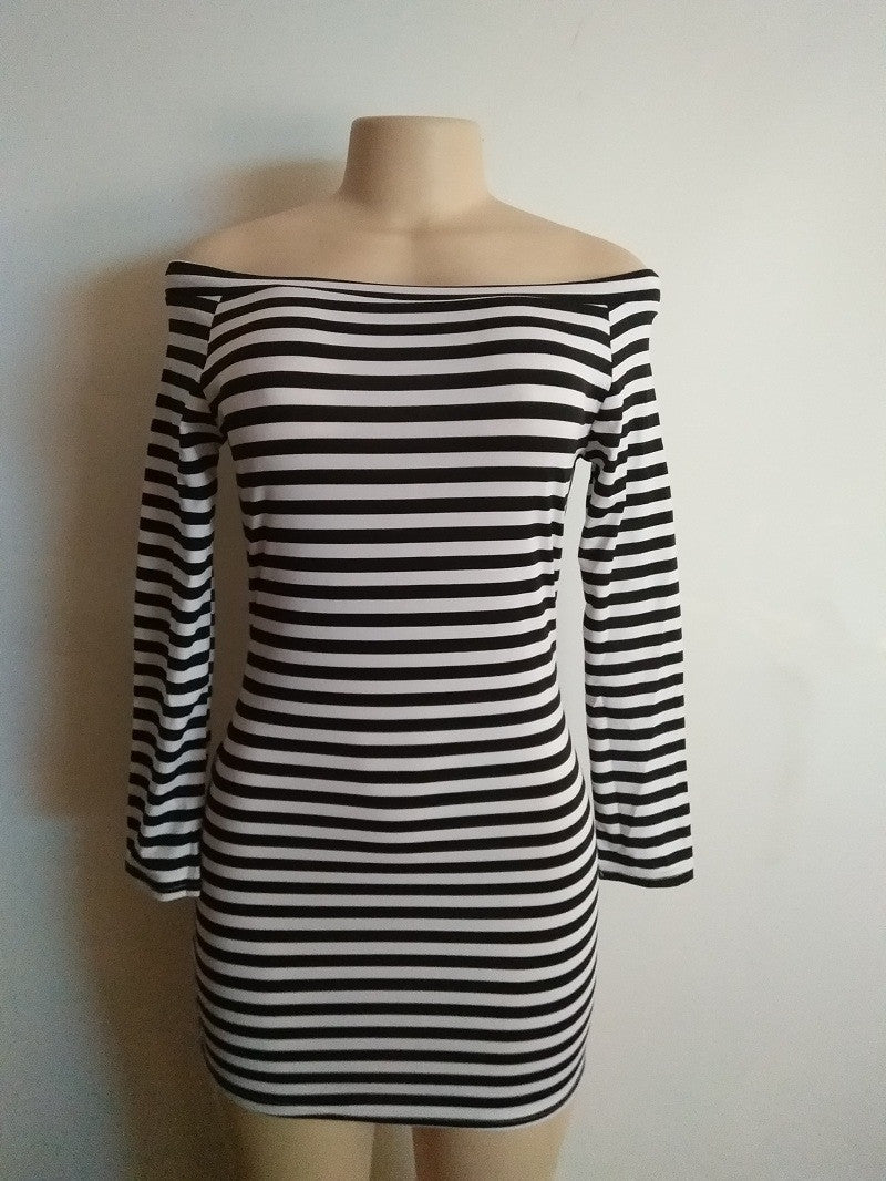 Fashion Off Shoulder Long Sleeve Stripe Short Bodycon Dress