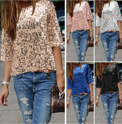 Sexy Sequins 1/2 Sleeve Scoop Loose T-shirt