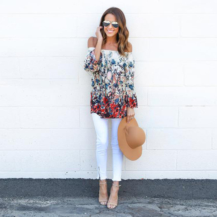 Fashion Off Shoulder Floral Print Sexy Blouse
