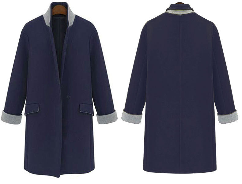 Suit Collar Straight Long Sleeves One Button Long Slim Coat