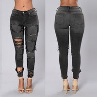 Ripped Holes Patchwork Pure Color Low Waist Slim Pencil Pants