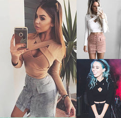 Sexy Criss Cross V Neck Long Sleeve Crop Top Blouse