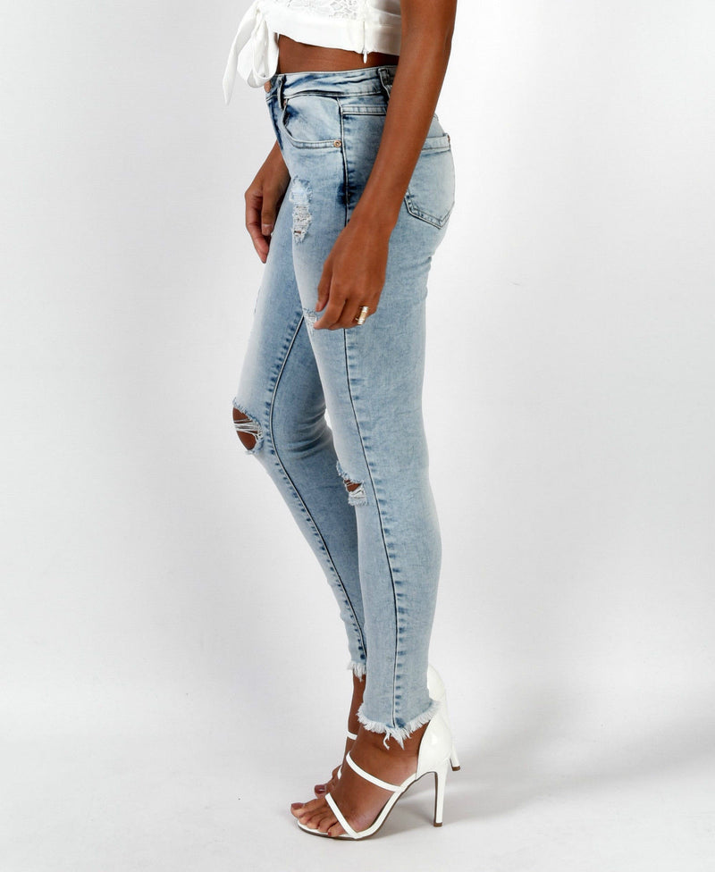 Sexy Light Blue Hole Low Waist Slim Pants