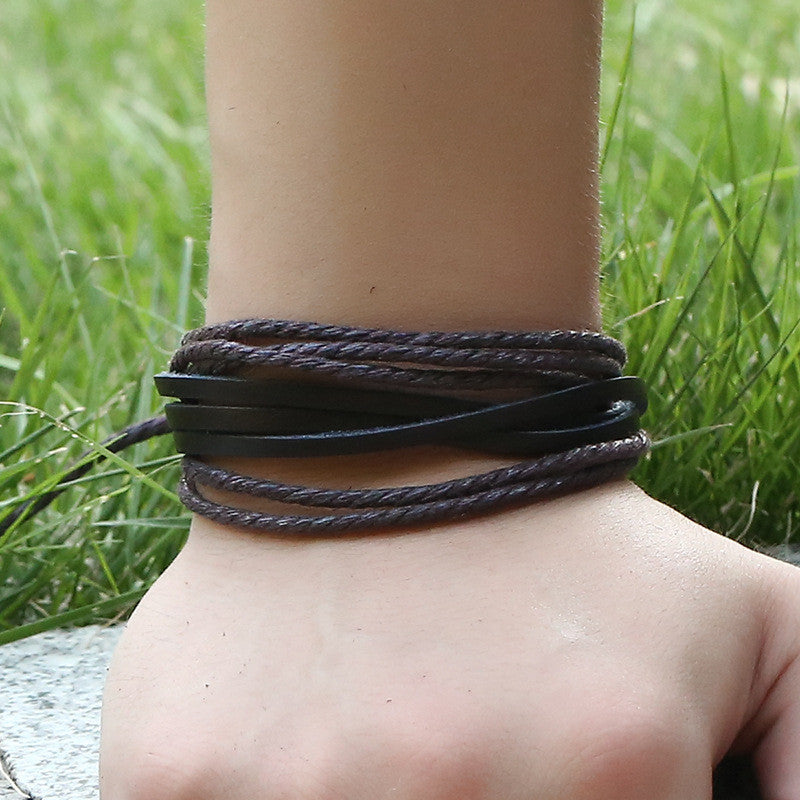 Leisure Hand Woven Leather Bracelet
