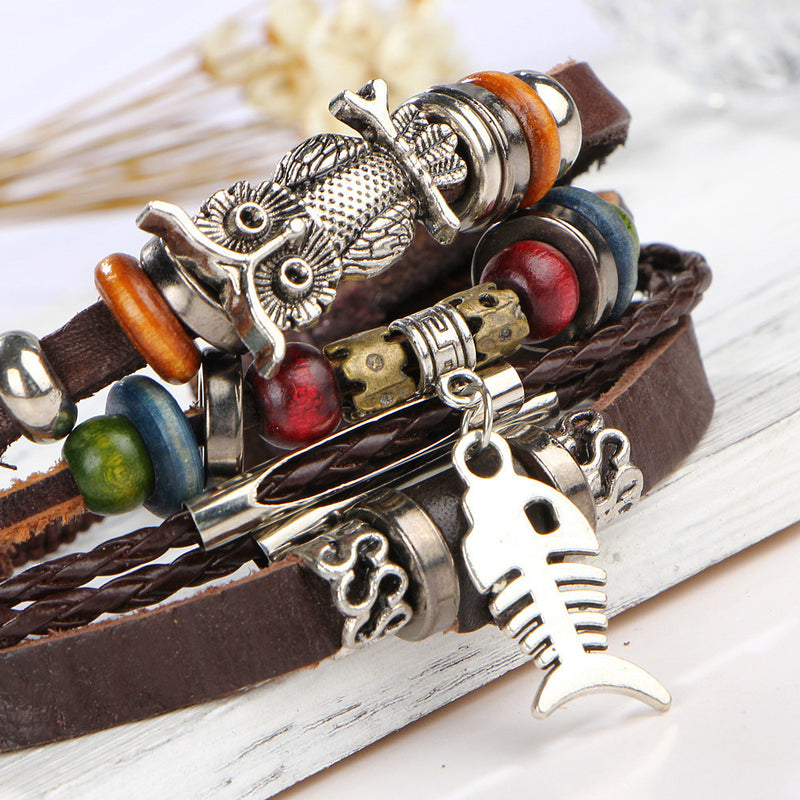 Fish Bone Owl Multilayer Bracelet