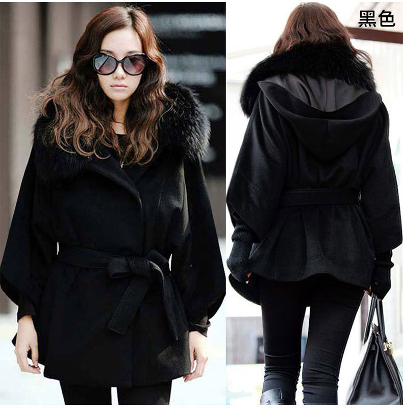 Wool Collar Long Sleeves Slim Wool Coat With Belt