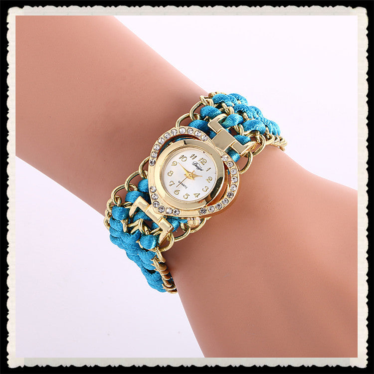 Personality Crystal Heart Adjustable Woven Watch
