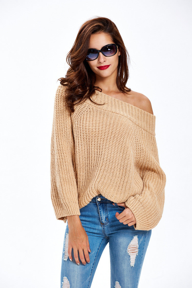 Simple Off Shoulder Pullover Sweater