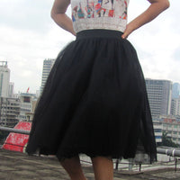 Sweet 7 Layers Pleated Flared Veil Skirt