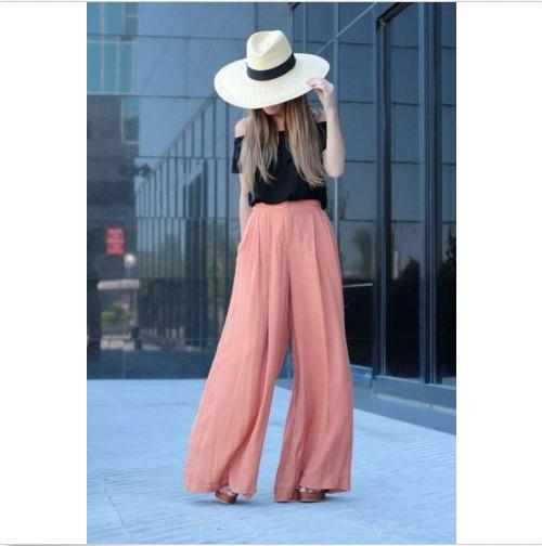 High Waist Draped Design Wide Leg Long Pants