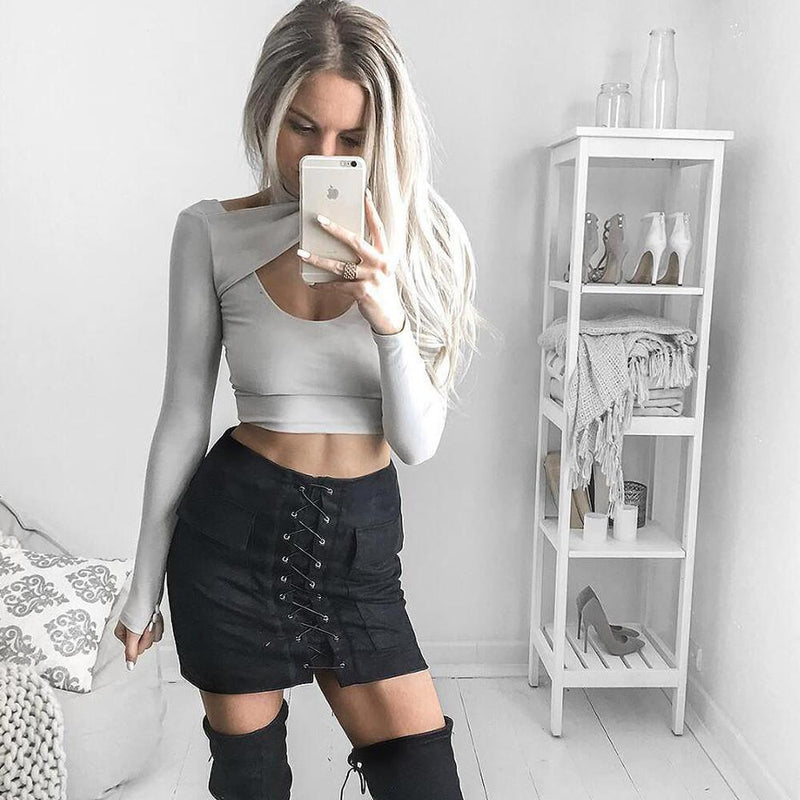 Sexy Suede Lace Up Pockets Short Bodycon Skirt