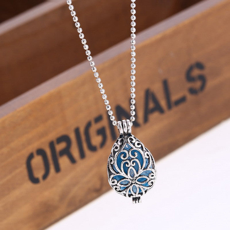 Hollow Out Luminous Drop Clavicle Necklace