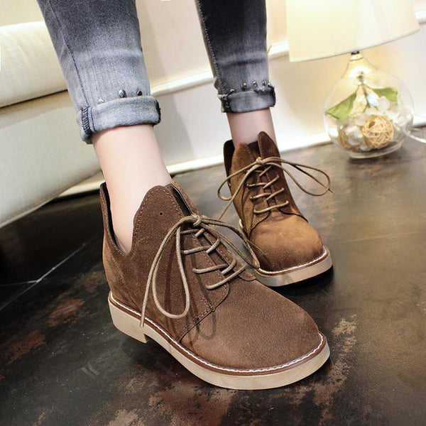 Simple Fashion Lace Up Irregular Martin Boots