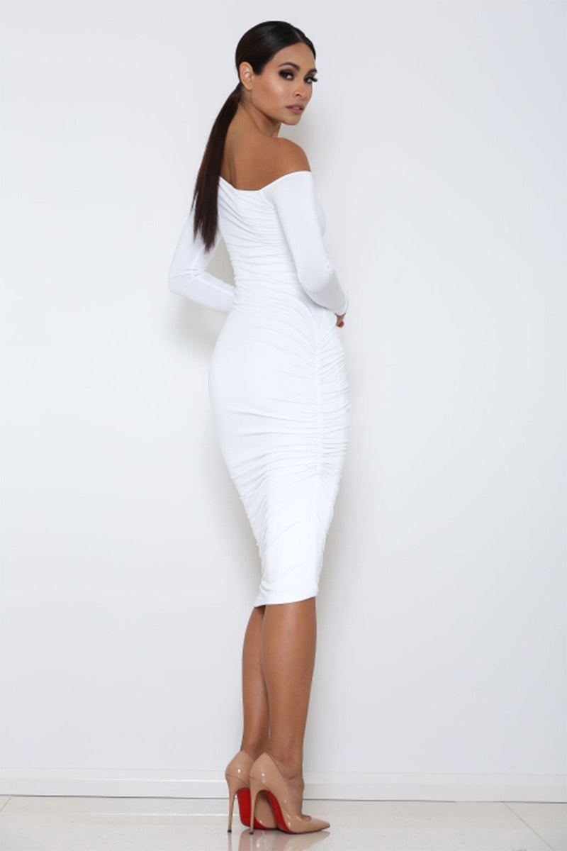 Long Sleeve Oblique Neck Bodycon Dress
