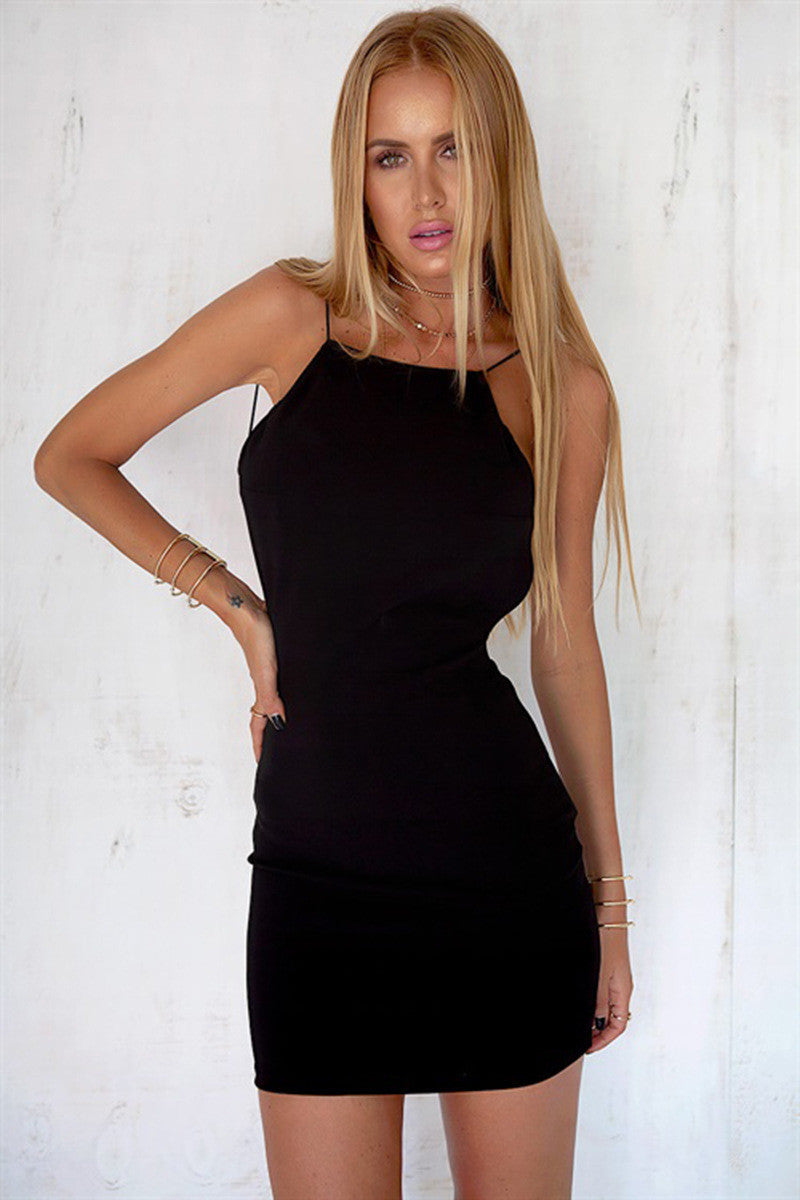 Sexy Black Backless Short Bodycon Dress