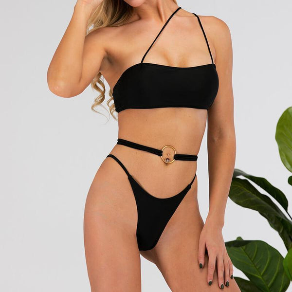 Black One Shoulder Plain Bandeau Thong Bottom Bikinis