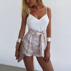 Bow Spaghetti Straps Crop Top High Waist Bowknot Wide-leg Shorts Two Pieces Set