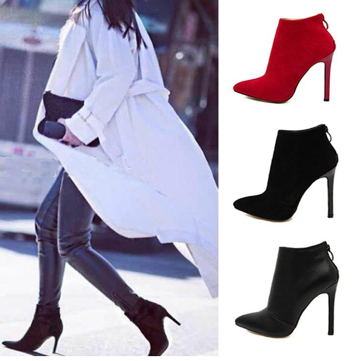 Pointed Toe Pure Color Ankle Length Short High Heel Boots
