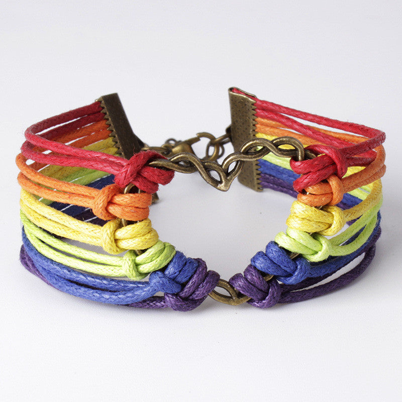 Colorful Multilayer Heart Woven Bracelet