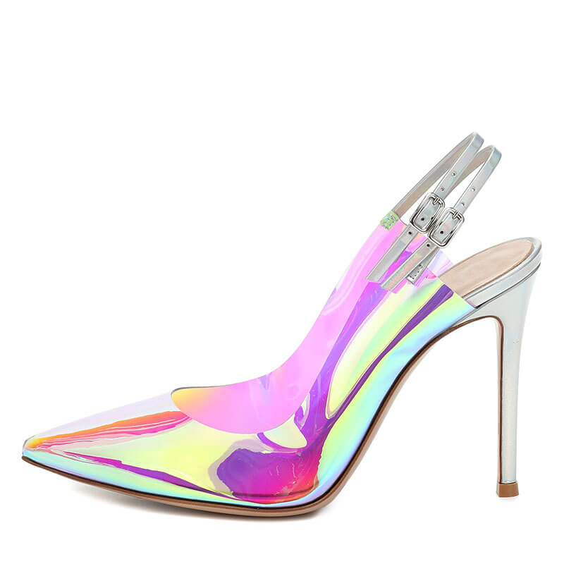 Party PVC Point Toe Buckle High Heels