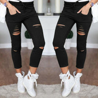 Fashion Ripped Draw String Waist Cotton Pencil Pants