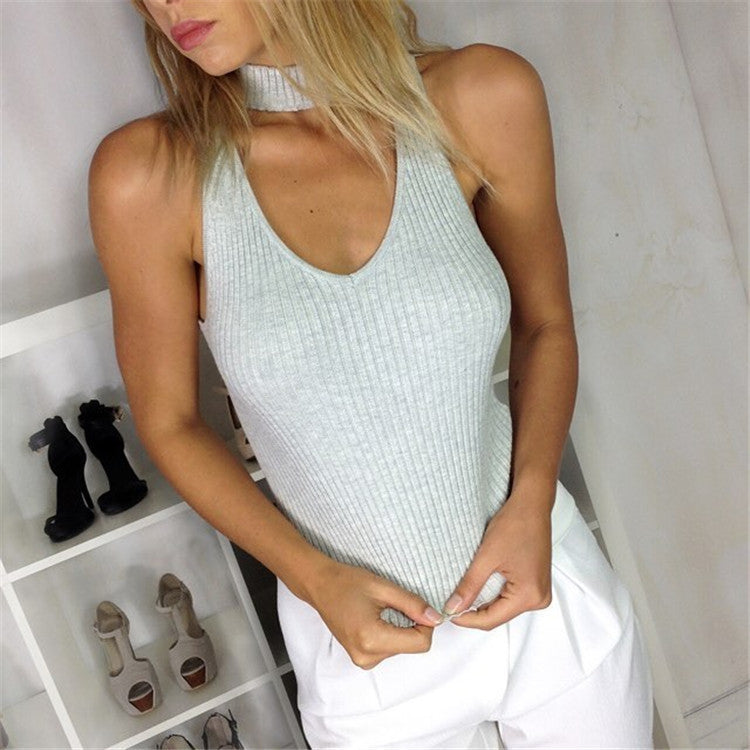 Ribbed-Knit High Neck Heart Hollow Out Sleeveless Vest
