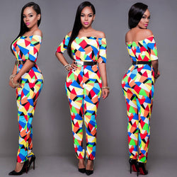 Off Shoulder Colorful Triangle Print Short Sleeve Long Jumpsuit