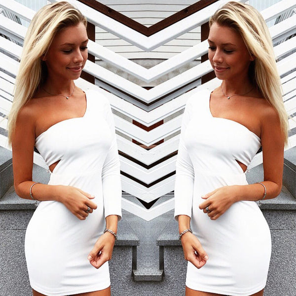 White Long Sleeve Wrapped One Shoulder Bodycon Dress