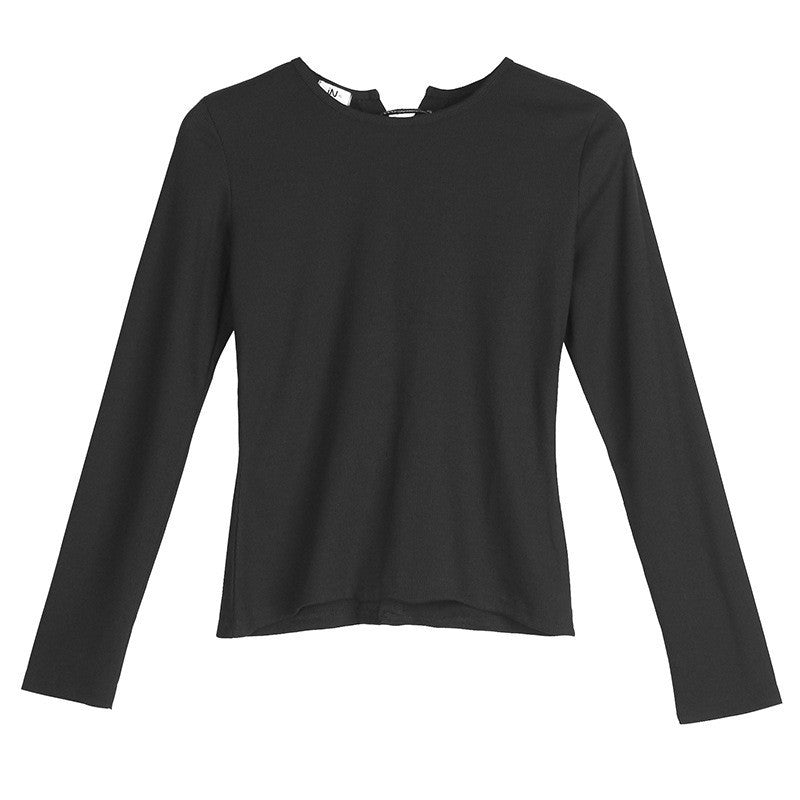 Hollow Out Straps Long Sleeves Slim Short T-shirt