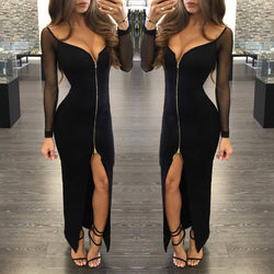 Sexy Black Mesh Low Cut Neck Front Zipper Long Dress