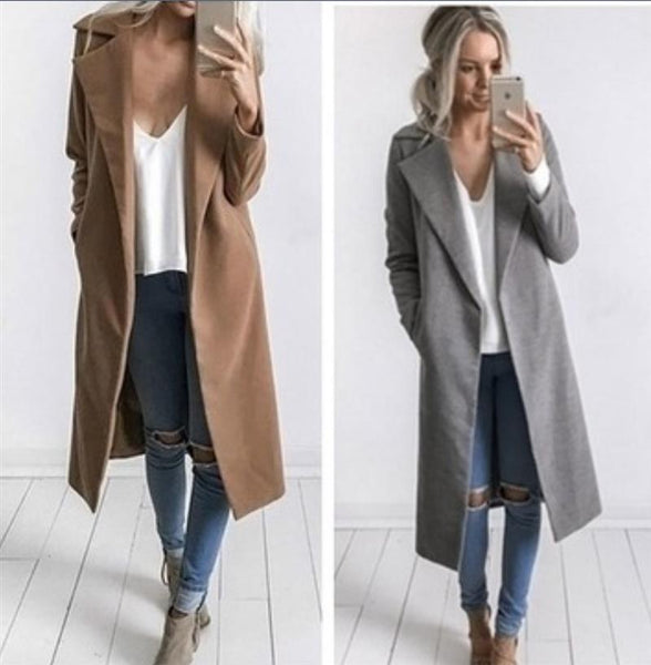 Lapel Collar Pockets Long Slim Woolen Coat