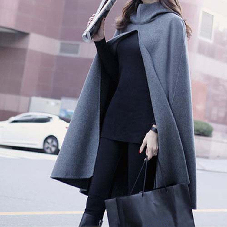 High Neck Long Sleeves Hooded Wool Cloak Coat
