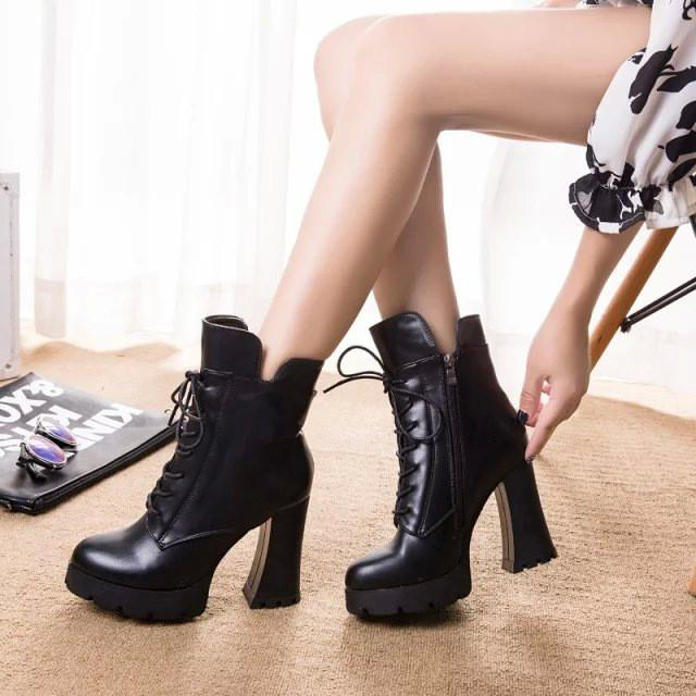 Lace Up Side Zipper Chunky Heel Short Boots