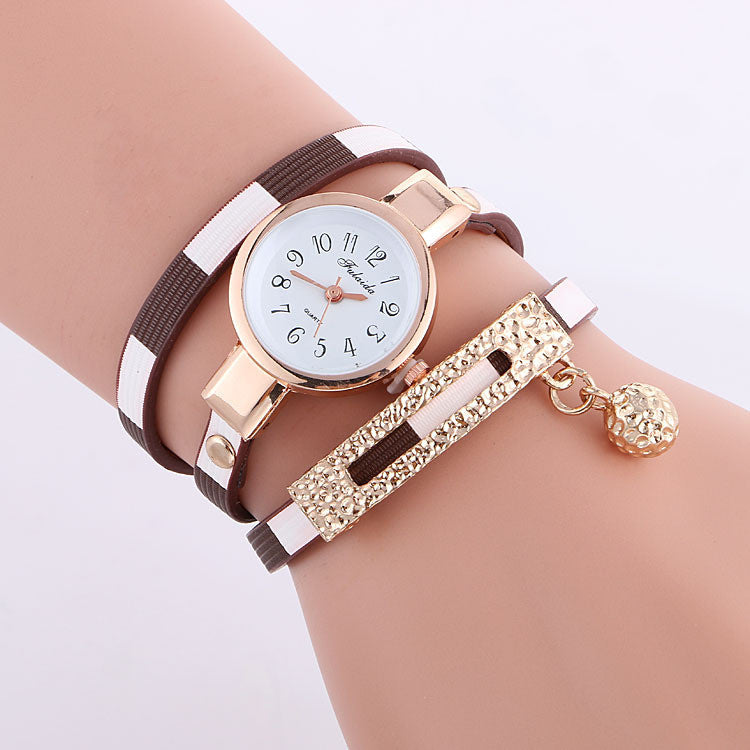Stripe Strap Bead Pendant Watch