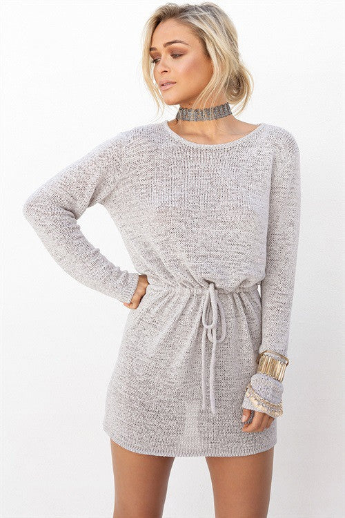 Casual Backless Drawstring Waist Knit Sweater Short Dress