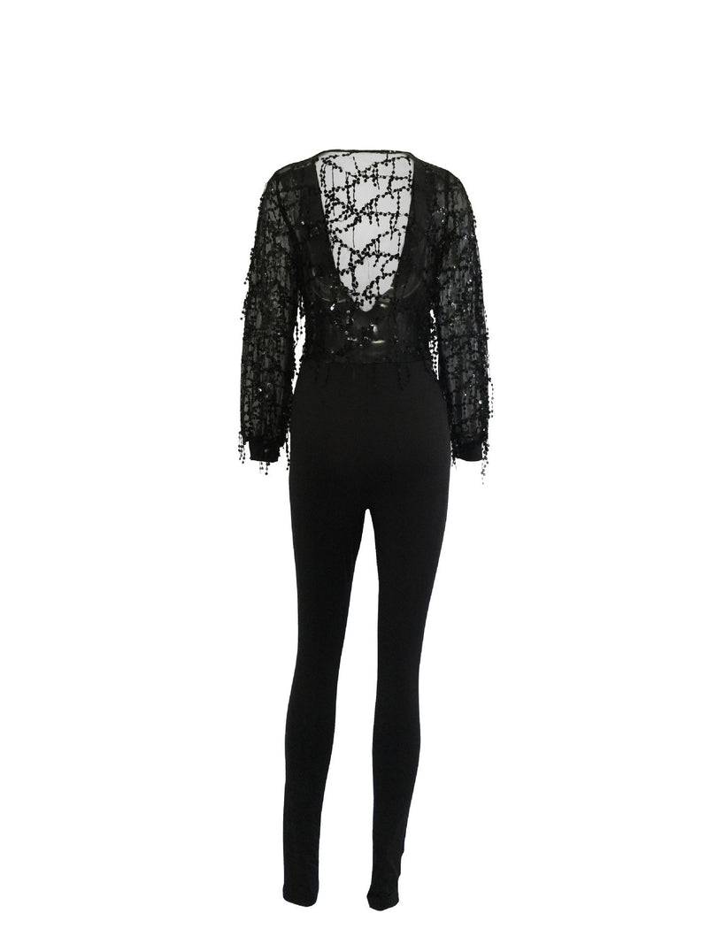 Black Deep V-neck Sequins Tassel Long Sleeve Long Jumpsuit